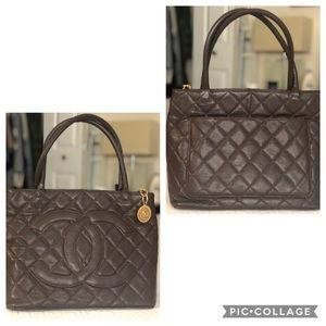 CHANEL brown logo tote. Excellent condition!